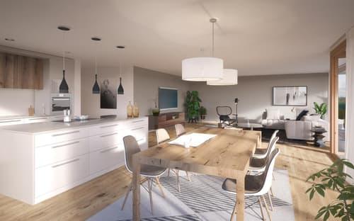 Visualisierung Wohnbereich/Küche
