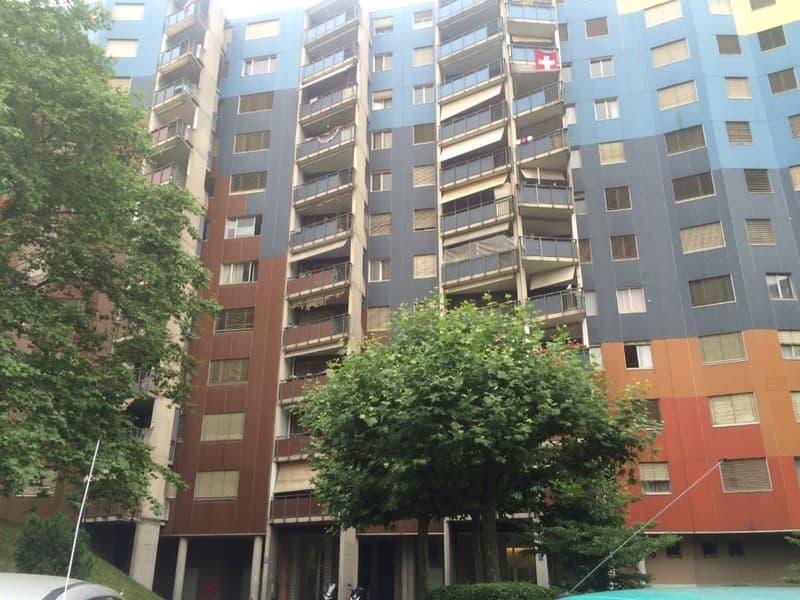 Appartement spacieux de 5 pièces au 11ème étage avec balcon. Parking interne: CHF 140.-/mois