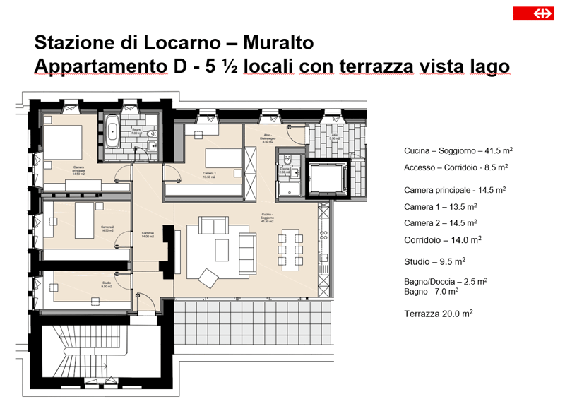 In locazione attici 5 1/2 locali 2P - Stazione FFS Locarno (4)