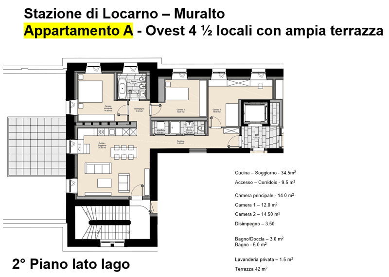 In locazione appartamento A - 4 1/2 locali 1P - Stazione FFS Locarno (4)