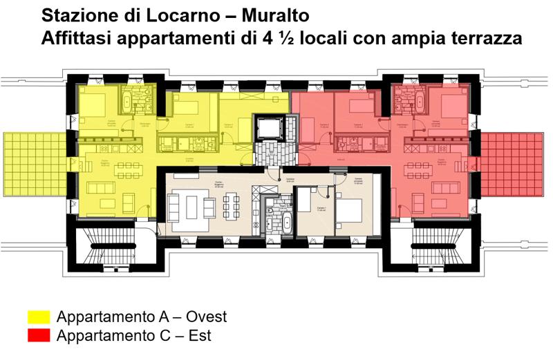 In locazione appartamento C - 4 1/2 locali 1P - Stazione FFS Locarno (3)