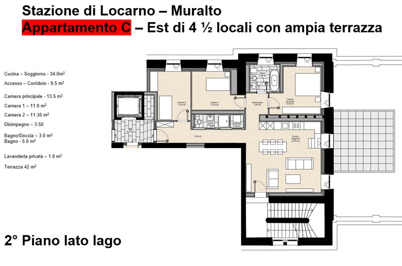 In locazione appartamento C - 4 1/2 locali 1P - Stazione FFS Locarno (4)