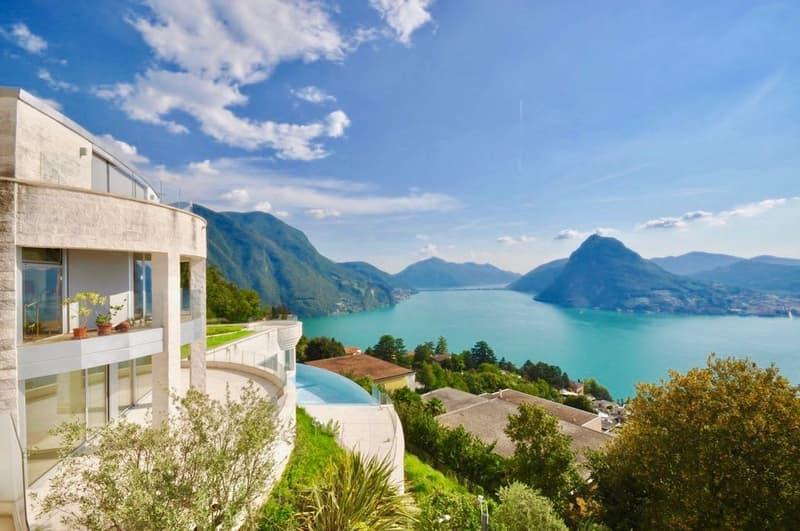 White House - Triplex di Lusso con Piscina e Vista Lago di Lugano