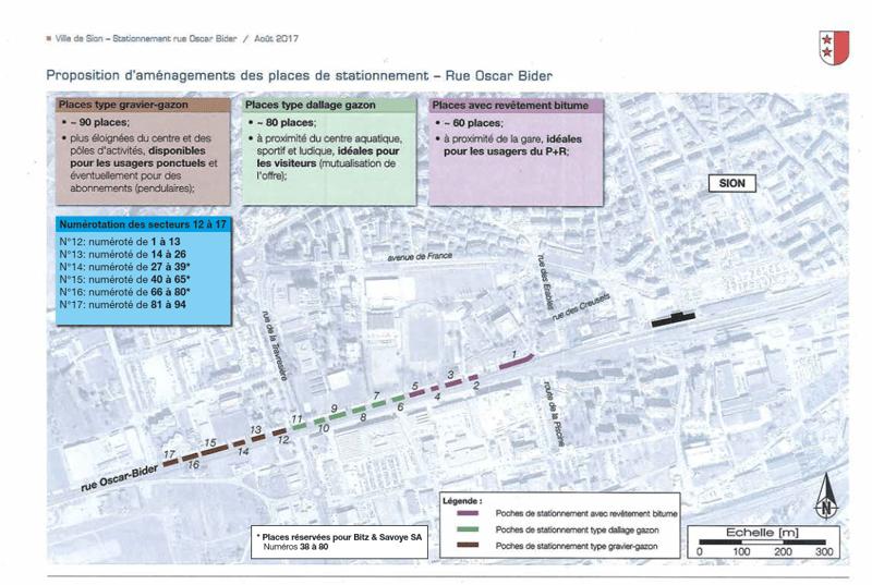 Plan des places de parc