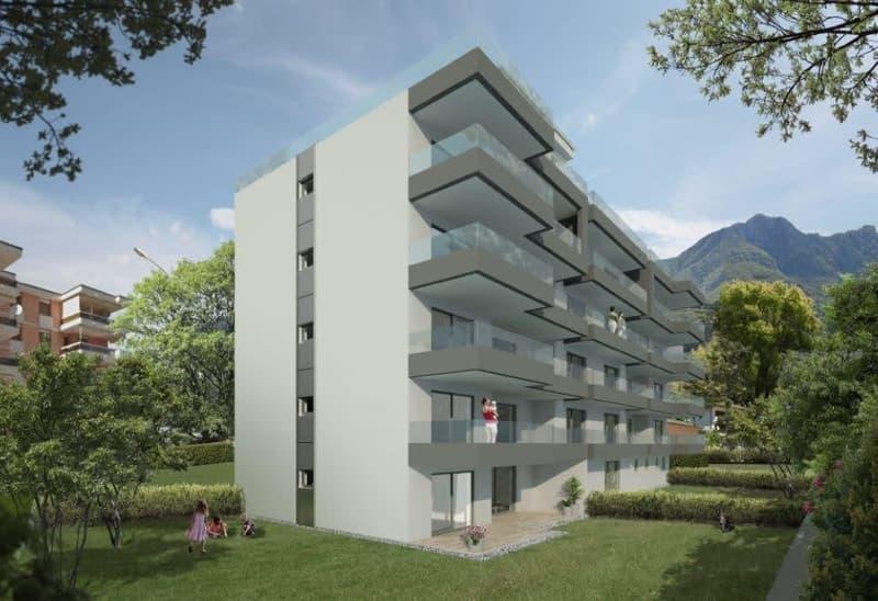 zwei Neubau- 16-Familienhäuser
