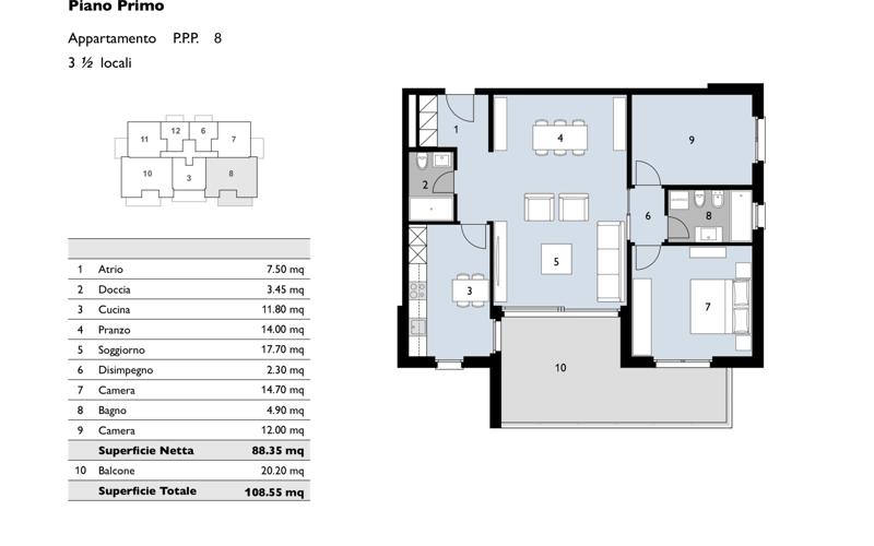Bel 3.5 locali con terrazza di 20 mq a Bioggio