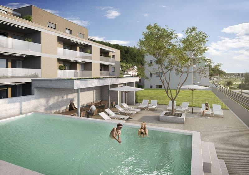 Erstvermietung 2.5 Zi-Wohnung mit Pool und Wellness/Fitnessraum