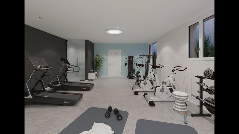 Fitnessraum mit Profigärete