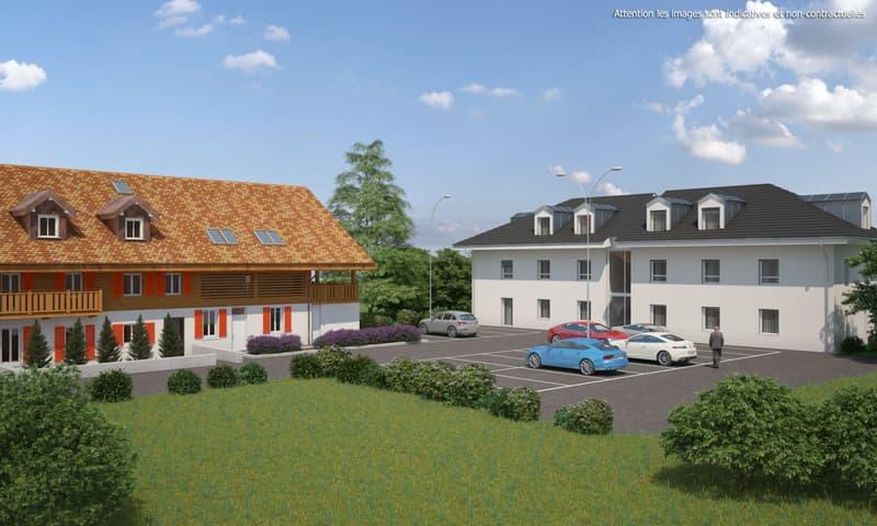 3,5 pièces neuf avec balcon de 15 m2, terrasse de 30 m2 et jardin privatif de 56 m2