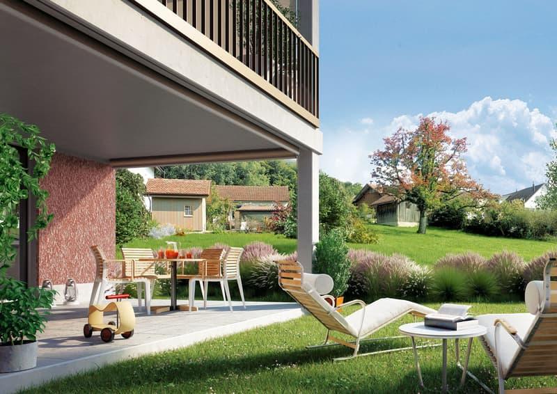 Visualisierung Sitzplatz mit Garten