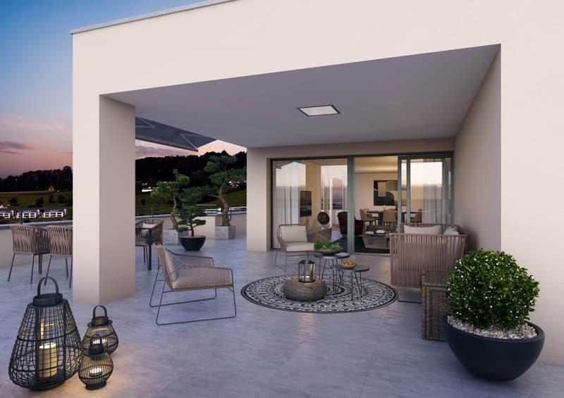 Wunderschöne Attikawohnung mit Südausrichtung und 91 m2 grosser Terrasse