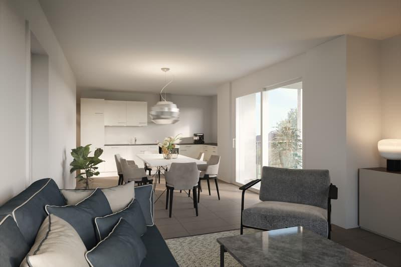 Visualisierung Wohnbereich und Küche