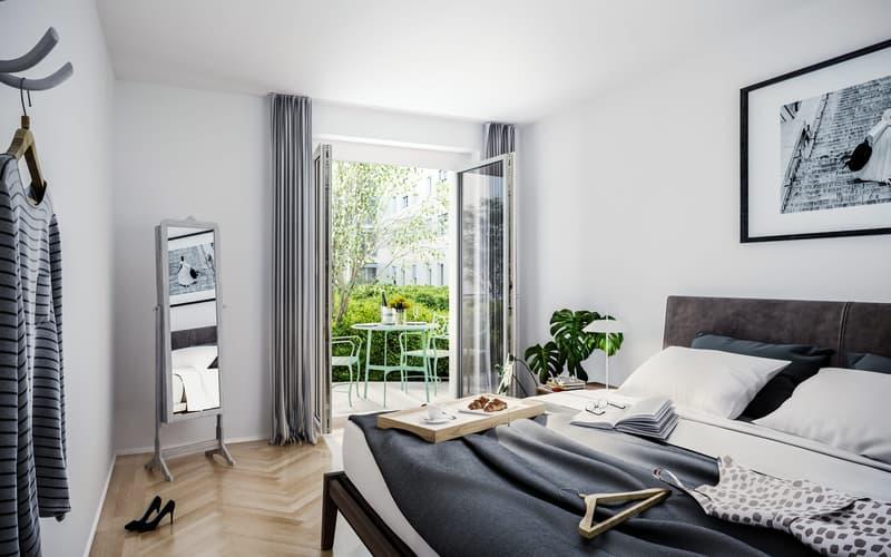 Visualisierung Schlafzimmer mit Gartensitzplatz
