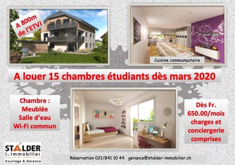 Chambre 2ème étage N° 15 avec balcon / Uniquement réservé pour étudiants et apprentis