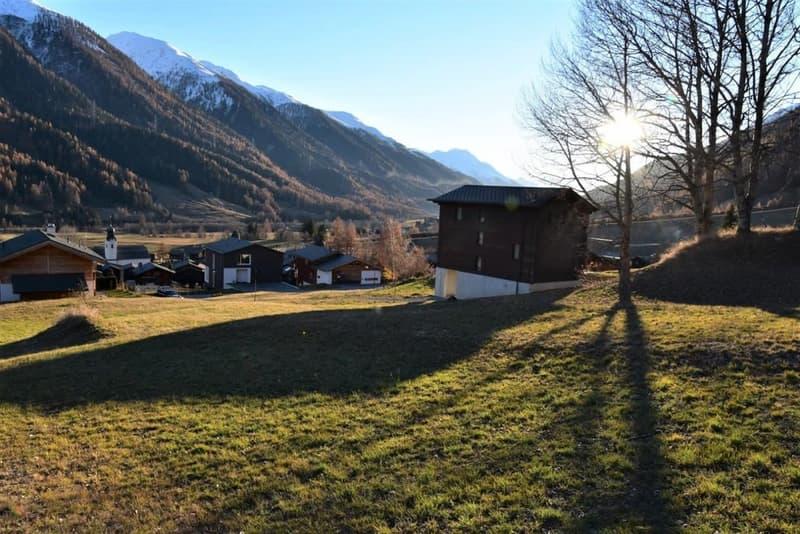 Bauland im alpinen Hochtal Obergoms in Reckingen