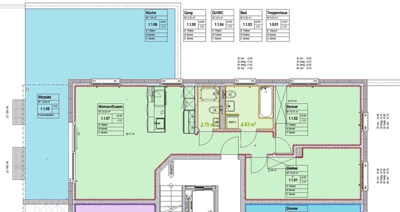 Pland der Wohnung, dunkelgrüne Fläche in Keramikboden mit Holzoptik, Badzimmer mit Platten am Boden und Wänden.