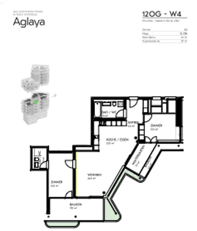 3.5 Zimmer WG im Gartenhochhaus Aglaya 12. Stock - Erstbezug