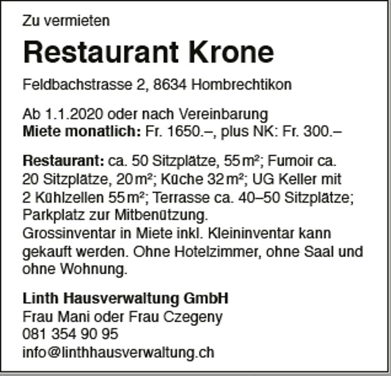 Restaurant Krone Feldbachstrasse 2, 8634 Hombrechtikon
