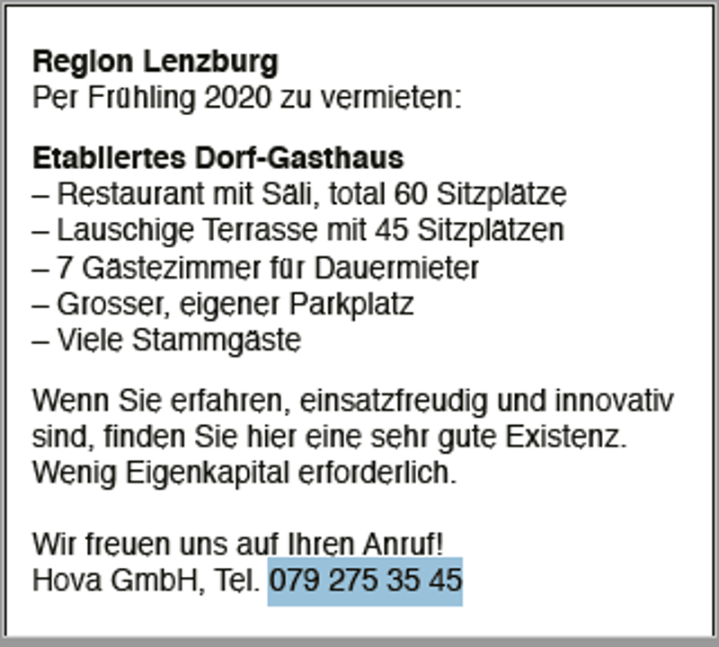 Region Lenzburg Etabliertes Dorf-Gasthaus