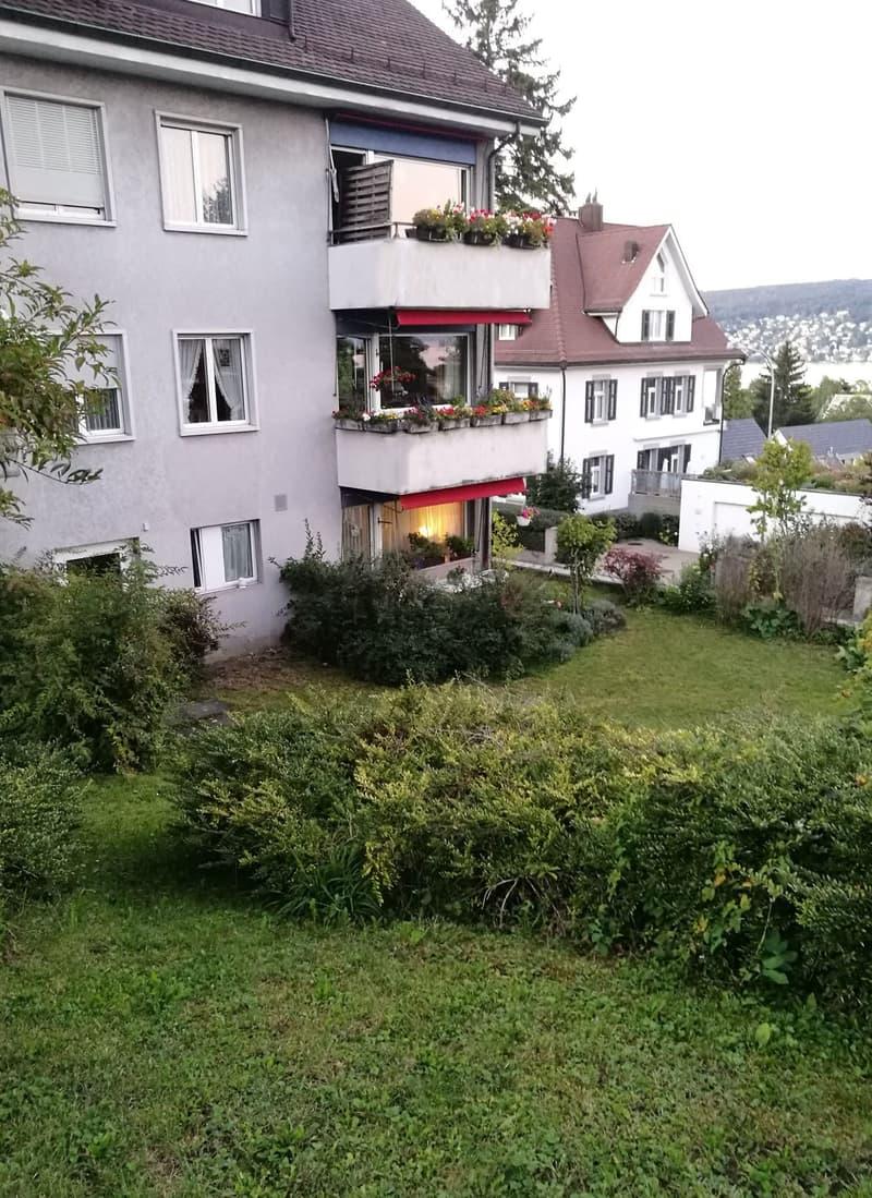 Blick vom Garten auf das Haus
