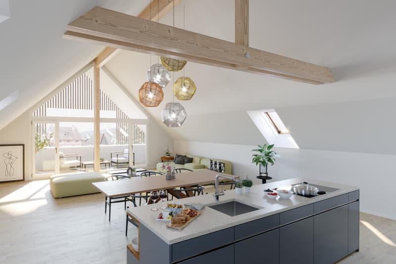 Traumhafte Dachwohnung mit über hohen Räumen und Fernsicht
