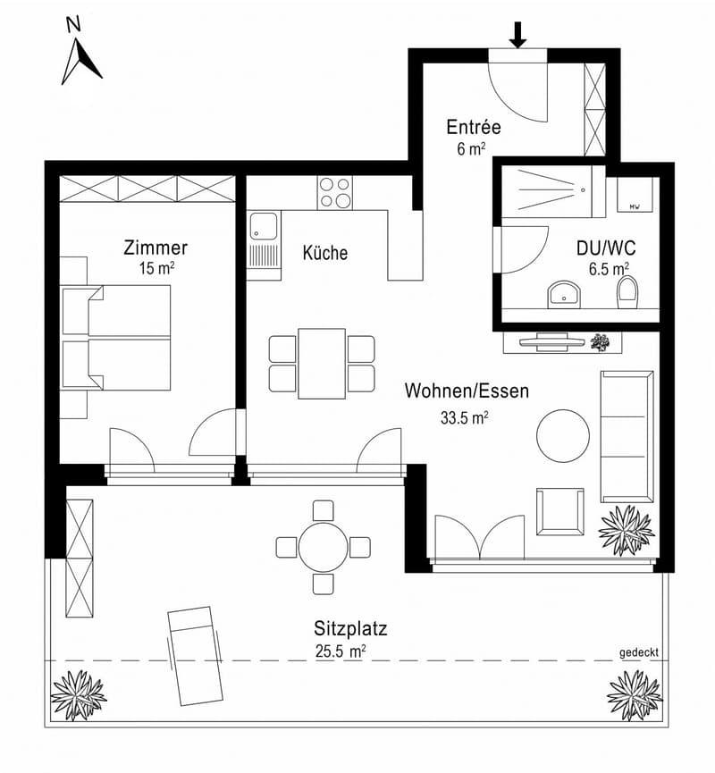 Grundriss 2.5 Zimmer-Wohnung im 3. OG, Amriswil