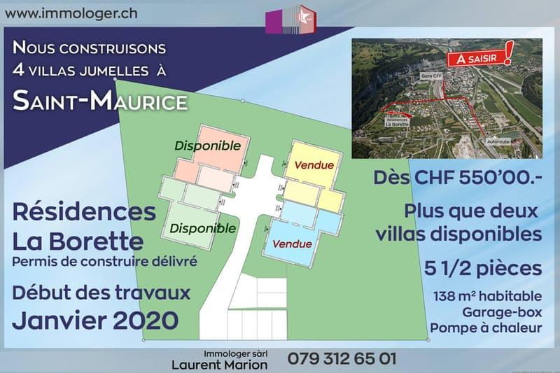 Une dernière villa jumelle neuve 5.5 pièces à Saint-Maurice