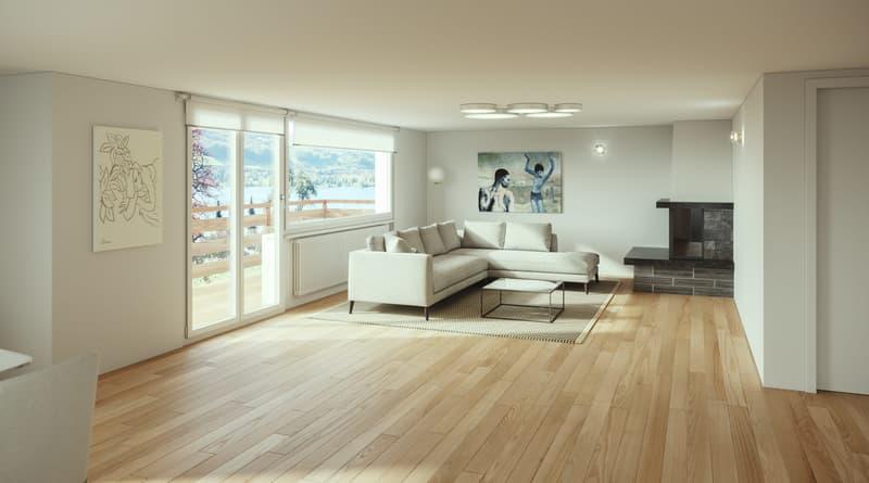 Wohnzimmer mit Cheminée Visualisierung