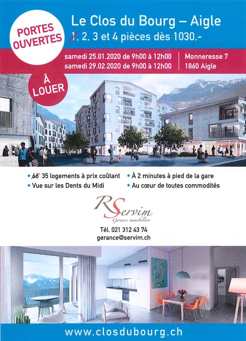 Le Clos du Bourg à Aigle - 2 pièces NEUFS dès CHF 1030.00/mois - Les réservations sont ouvertes !