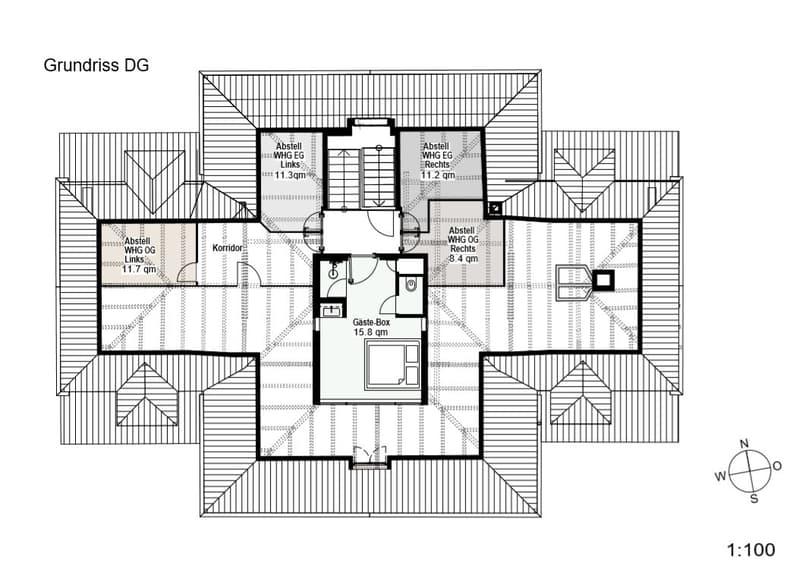 Grundriss Dachgeschoss mit Gästebox