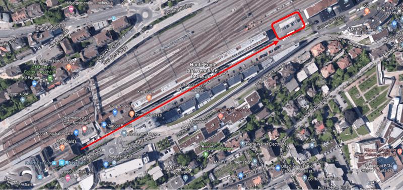 Place de parc TransEurope - Gare CFF Neuchâtel