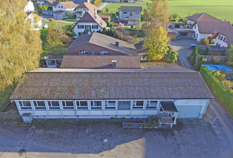 Ansicht Anbau Gewerbeteil vorne, Mittelteil und hinten Einfamilienhaus