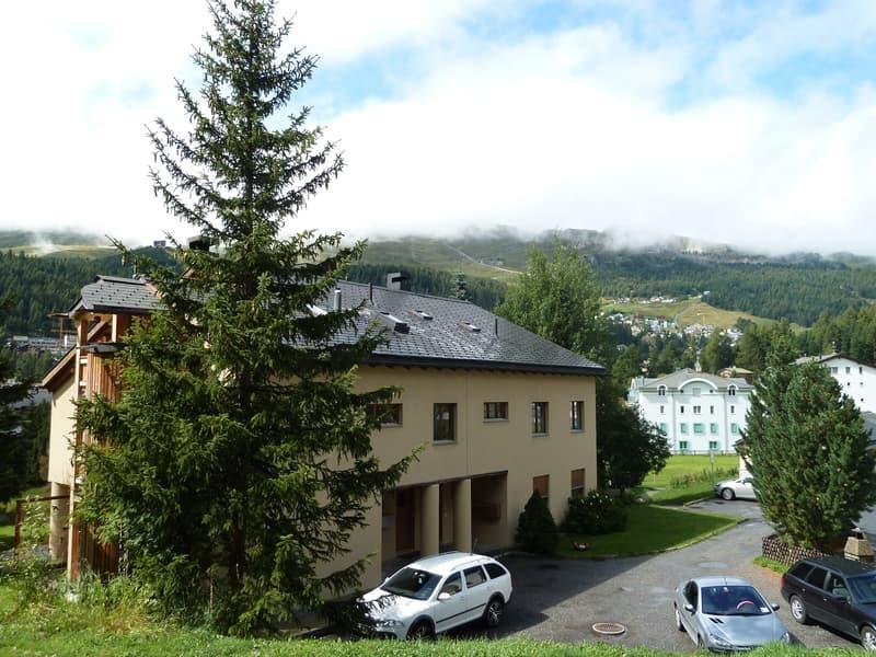 Sicht auf Haus vom Waldrand betrachtet