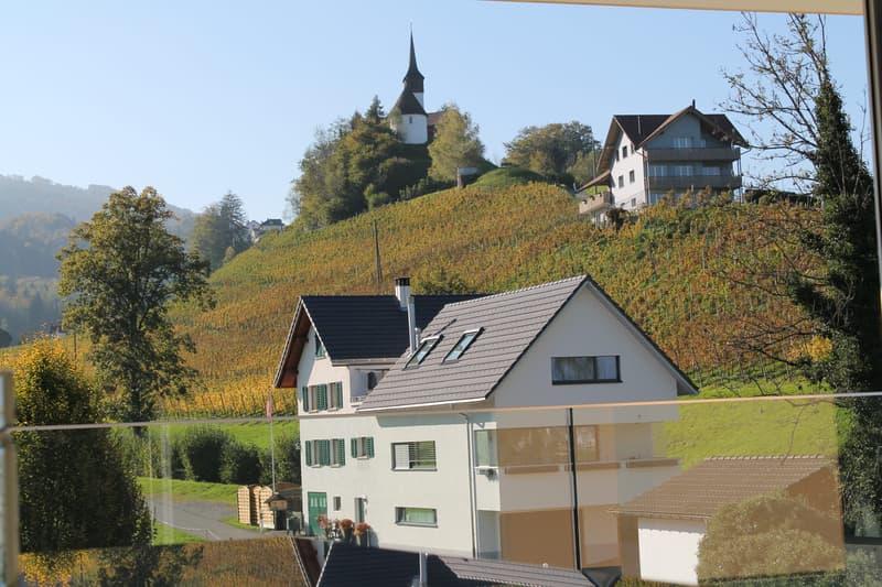Aussicht aus Küche, Wohn-/Essbereich, gedeckter Terrasse