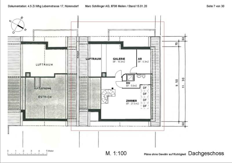 Zentrale, grosse Attikawohnung auf zwei Etagen, Balkon gegen SW mit Aussicht, Cheminée (4)