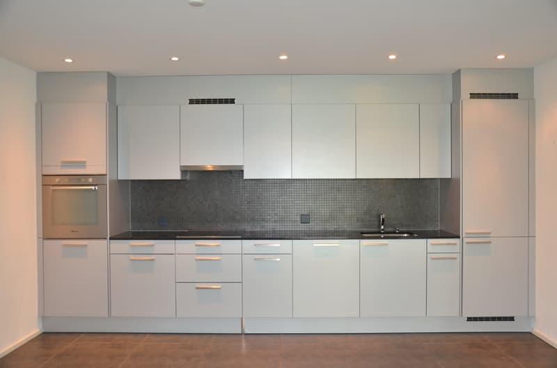 moderne, geräumige Küche mit Granitabdeckung