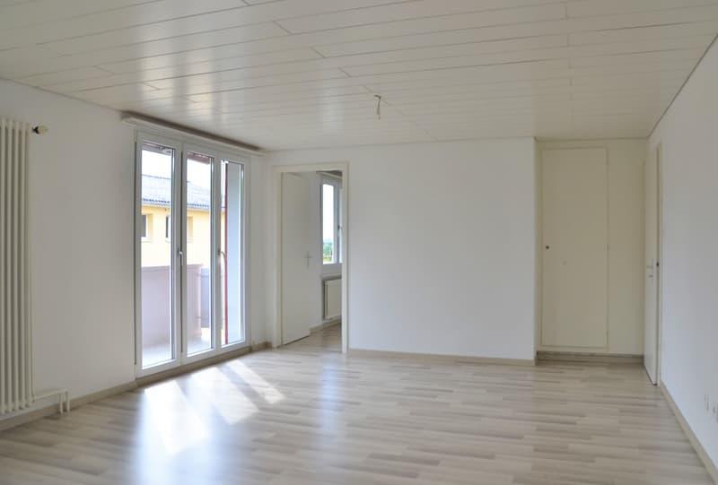 helles, grosszügiges Wohnzimmer mit Laminatboden