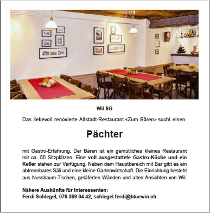 Das liebevoll renovierte Altstadt-Restaurant Zum Bären sucht einen Pächter