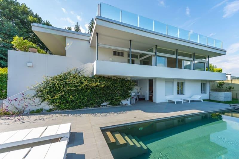 Villa di lusso, piscina, vista lago, terrazza sul tetto, a Sorengo