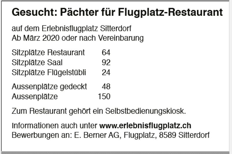 Gesucht: Pächter für Flugplatz-Restaurant