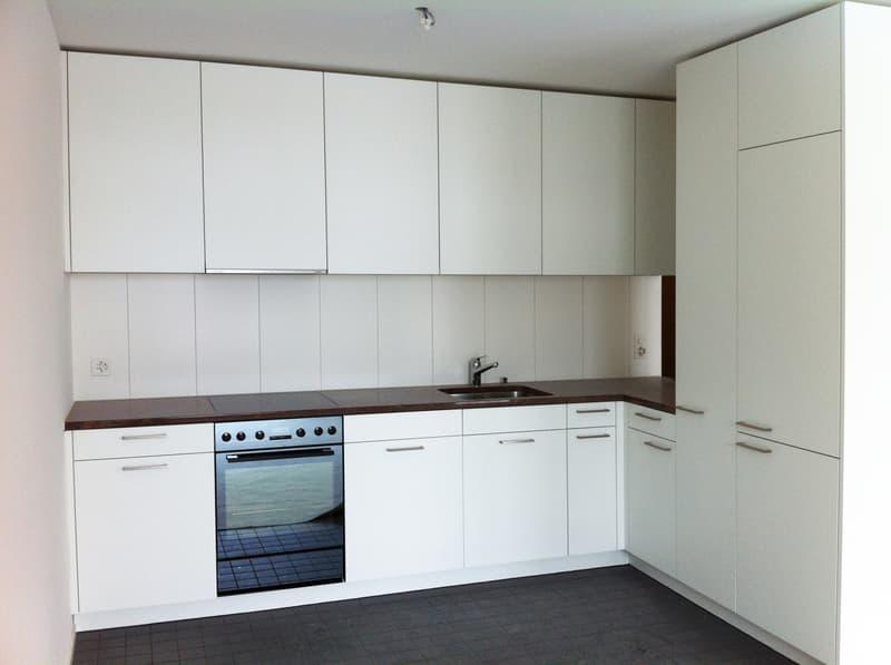 weisse Küche mit Granitabeckung