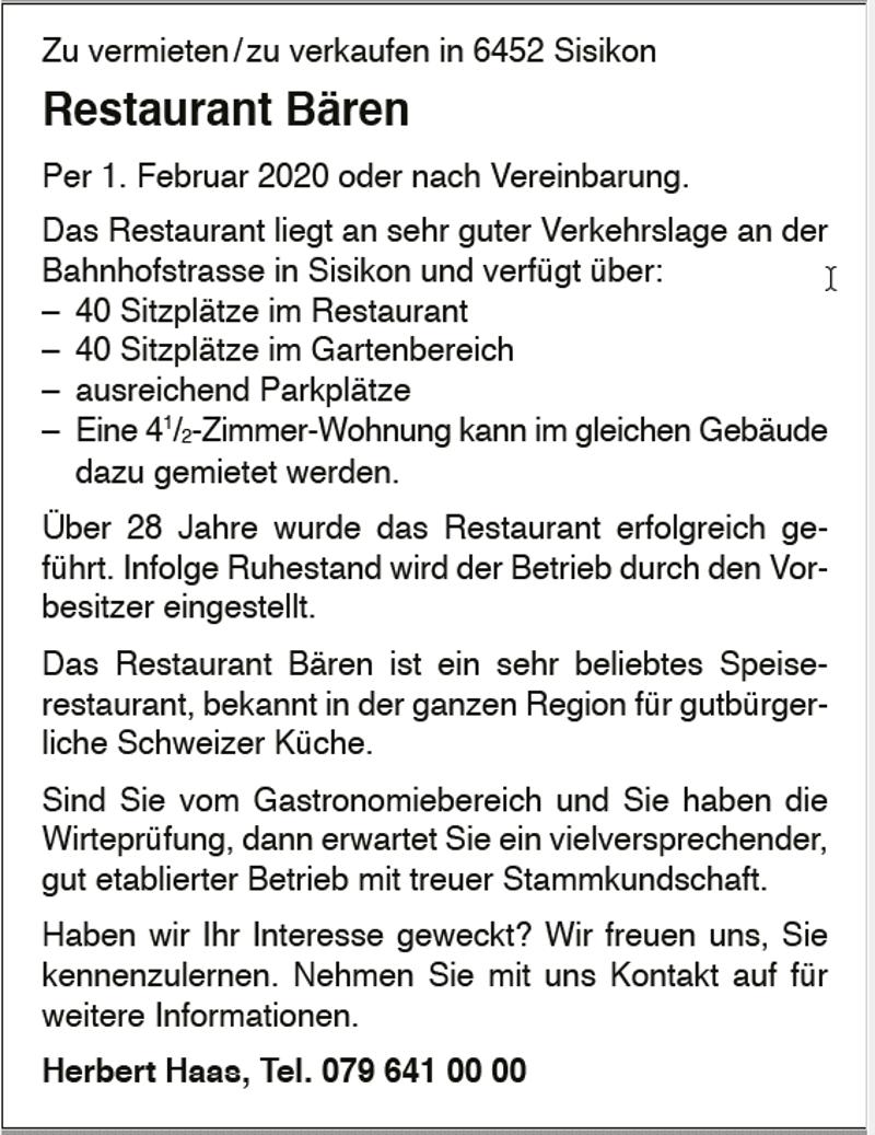 Restaurant Bären zu vermieten / zu verkaufen in 6452 Sisikon