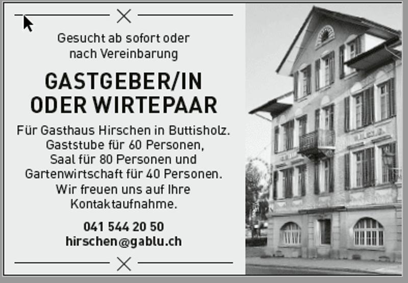 Zu vermieten Gasthaus Hirschen Butttisholz