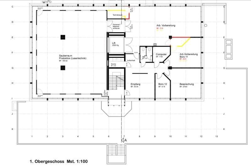 350 m2 (oder Teilfläche) verkehrstechnisch ideal, nutzungsoffen (160 m2 Reinraum)