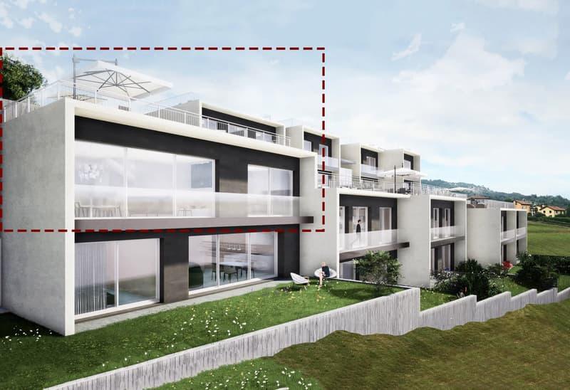 Superbo 2,5 di alto standing nel verde con elegante tetto giardino.