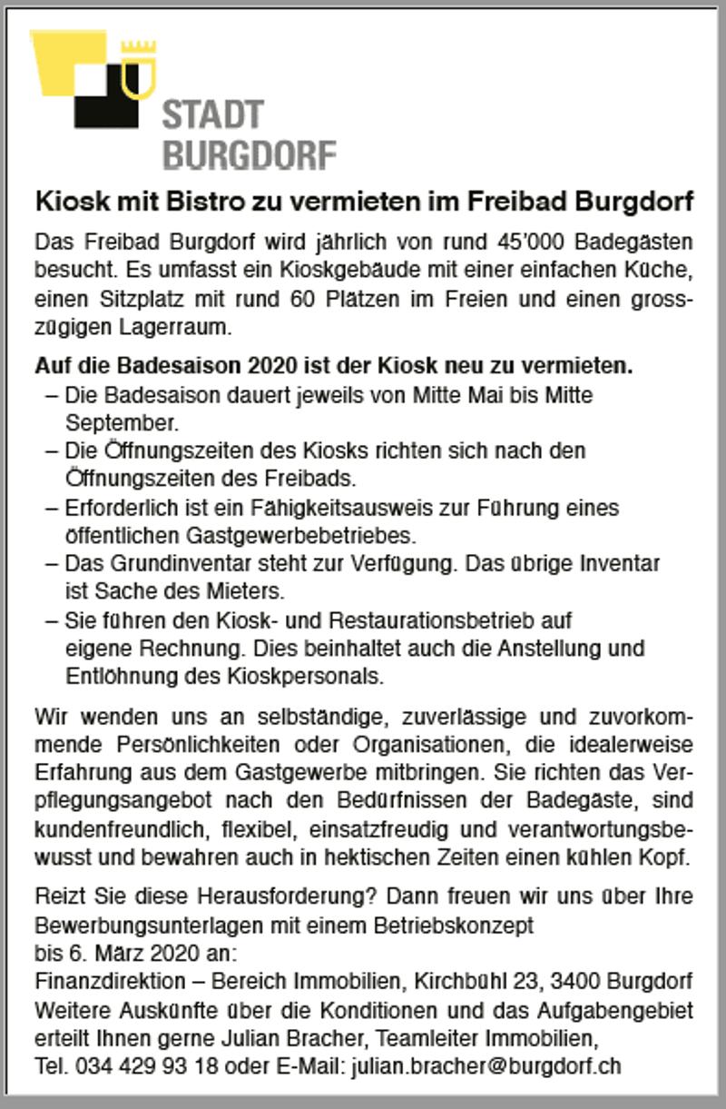 Kiosk mit Bistro zu vermieten im Freibad Burgdorf zu vermieten