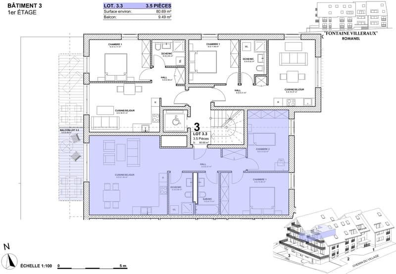 """FONTAINE VILLERAUX """"Encore 9 appartements"""" 3,5pc / 4,5pc / 5,5pc. (3)"""