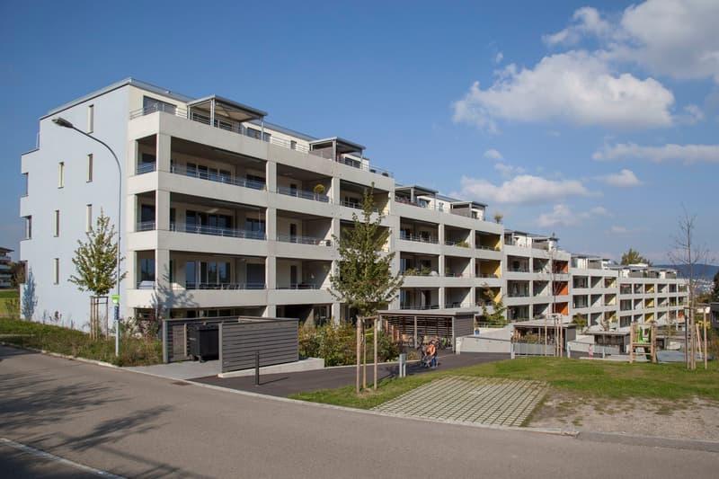 3.5 Zimmer Wohnung mit gedecktem Sitzplatz und privater Rasenfläche