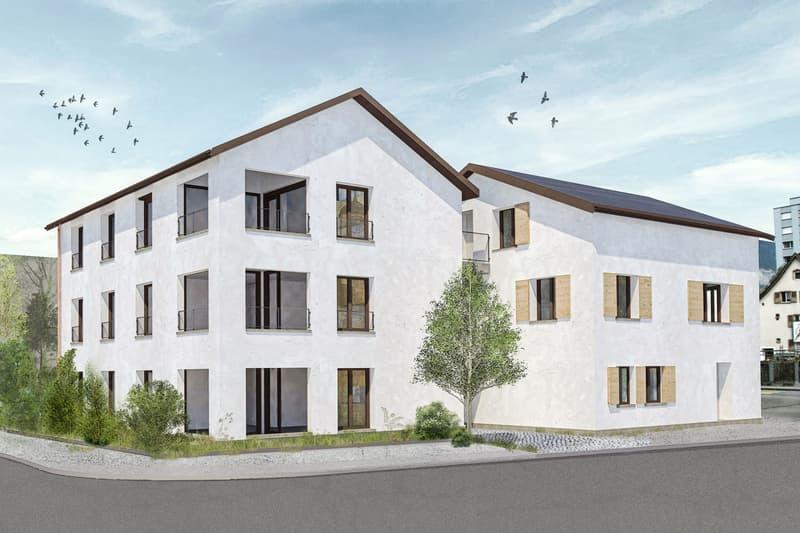Visualisierung Mehrfamilienhaus von der Plantahof-/ Schulstrasse