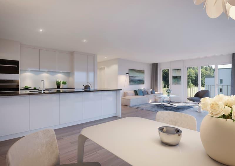 Visualisierung Wohn- und Essbereich mit Küche